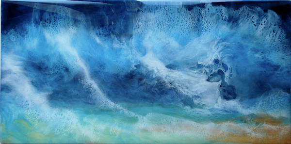 A perfect storm abstract art blue white teal colours