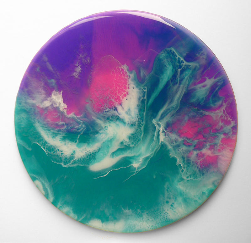 Round abstract art called Sea Spirit in teal purple pink and white