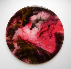 abstract art called while you were sleeping In Red Bronze Black and pink