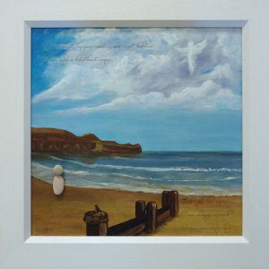 special commission original painting sandsend beach pebble person on beach angel in the sky symbolic robin on wooden post