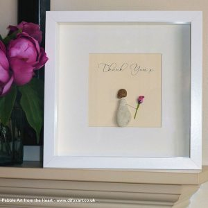 thank you pebble art little girl holding a rose with the words thank you and a kiss white frame