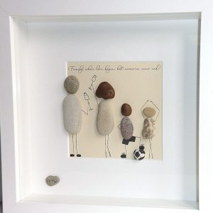 family pebble art from the heart mam dad drinking wine son has a footbal daughter is dancing with quote at the top in white frame