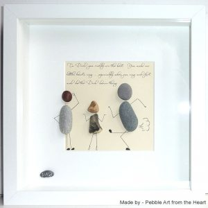 funny pebble art for dad he is dad dancing kids laughing and shrugging shoulders. childrens poem written at the top