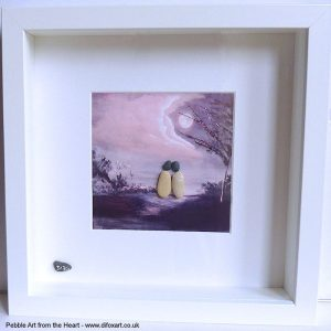 pebble art picture on a print of an original painting scenic view with a tree and clouds two pebble people embracing
