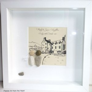 wedding pebble art with sketch of Fingask Castle in background bride and groom pebbles bride has a veil