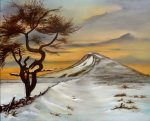 A Roseberry Topping painting called That Crooked Tree by artist Di Fox with snow and a sunset sky