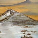 Detail on roseberry topping painting with grasses ferns and snow by artist Di Fox