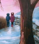 close up of first love painting with tree and the children in the snow
