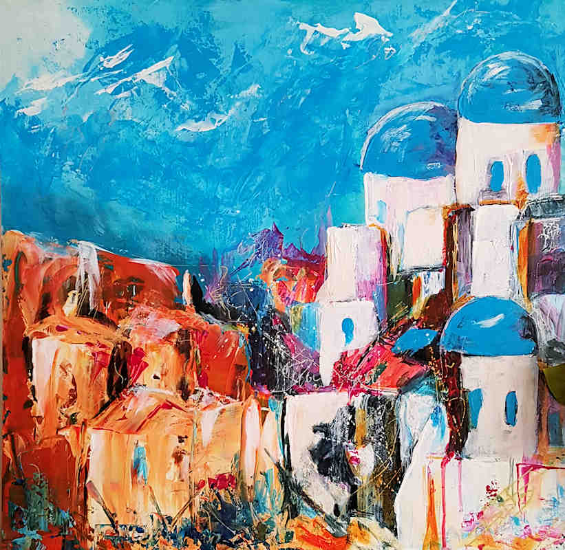 Santorini Greece painting white houses blue sky and orange tones by Di Fox