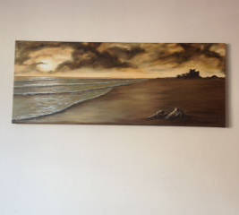 bamburgh castle di fox original on wall in customers house