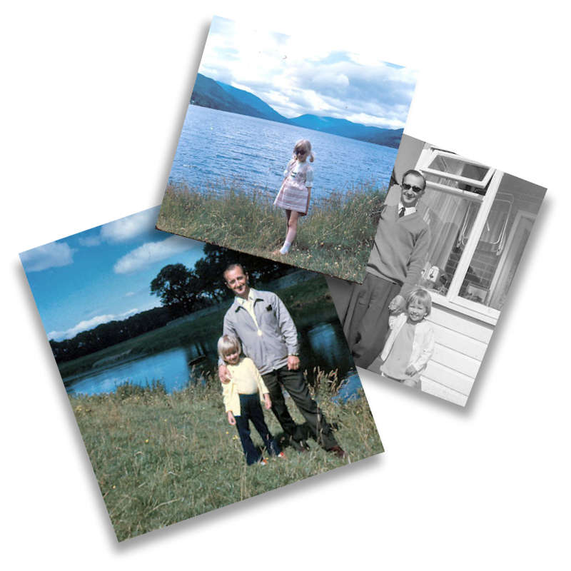 early years three photos of Di and her Dad by lake or water