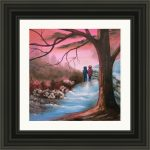 romantic oil painting example of what first love would look like in black frame