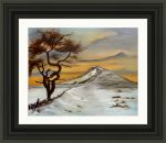 That crooked tree roseberry topping painting in a black frame as an example of how it would look framed by artist Di Fox