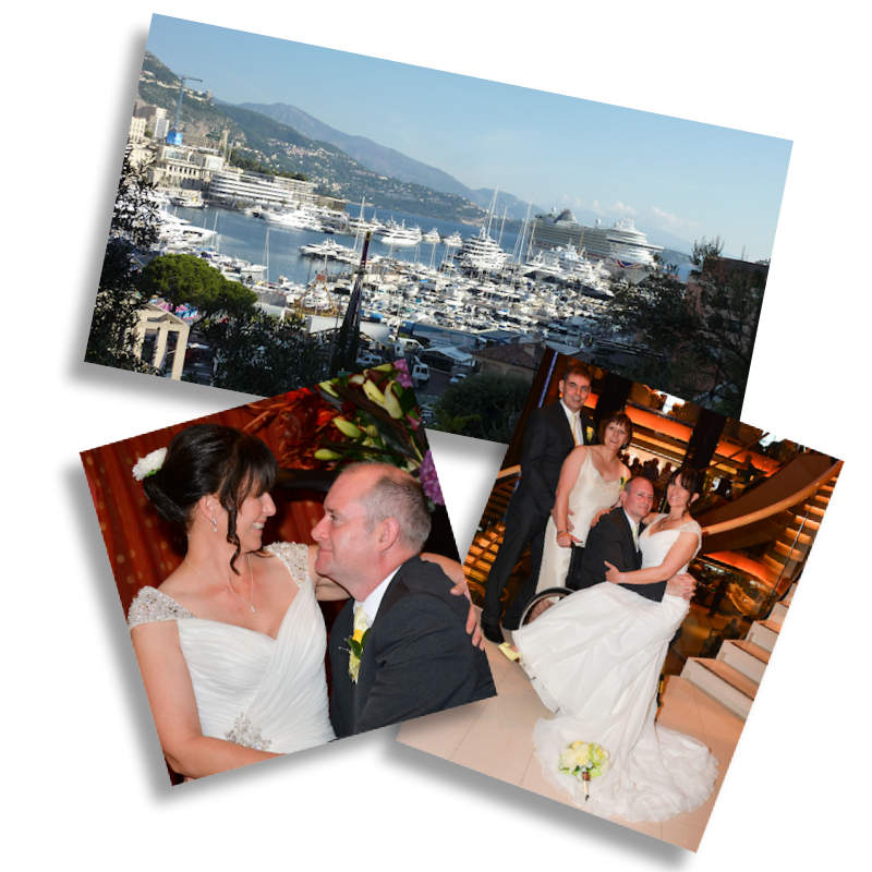 wedding photos of Di and her husband and a picture of monte carlo