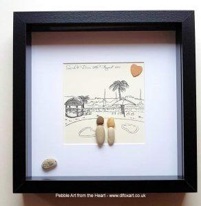 wedding abroad pebble art
