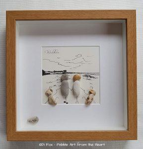 Dog walking pebble art
