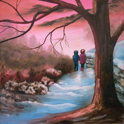 First Love romantic painting on Oil paintings for sale page by artist Di Fox in shades of pink and blue