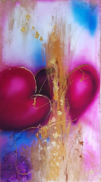 Two Hearts abstract painting with gold blue pink purple and gold flakes