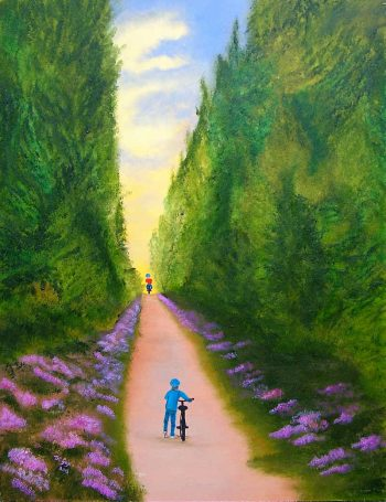 Wait for me oil painting two children on bikes on their own tour de yorkshire